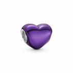 Charm Coeur Violet Métallique