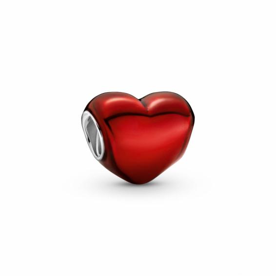 Charm Coeur Rouge Métallique