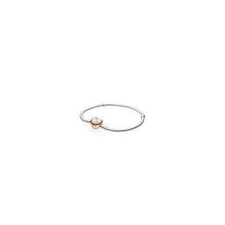 Bracelet Maille Serpent Fermoir Coeur Pandora Rose