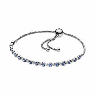 Bracelet Coulissant Scintillant Bleu et Incolore