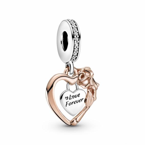 Charm Pendant coeur et Rose