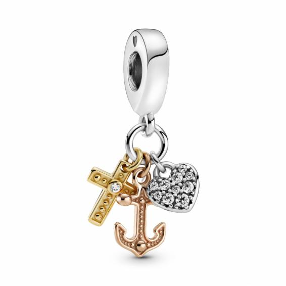 Charm Pendant Croix, Coeur et Ancre Tricolore