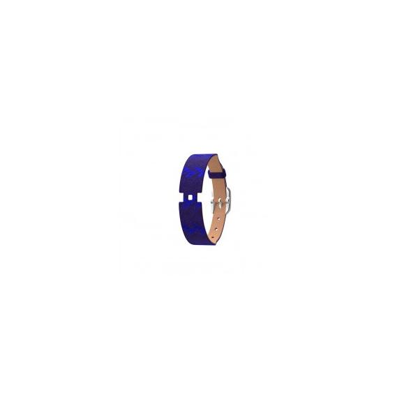 Bracelet de Montre 14 mm Argenté Cuir Grès/Batik