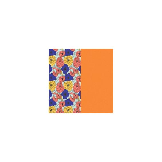 Cuir pour Manchette Motif Fleurs Multicouleurs/Abricot 14 mm