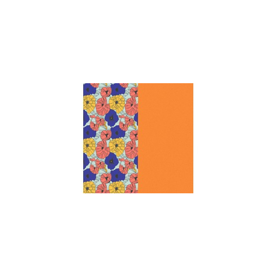 Cuir pour Manchette Motif Fleurs Multicouleurs/Abricot 25 mm