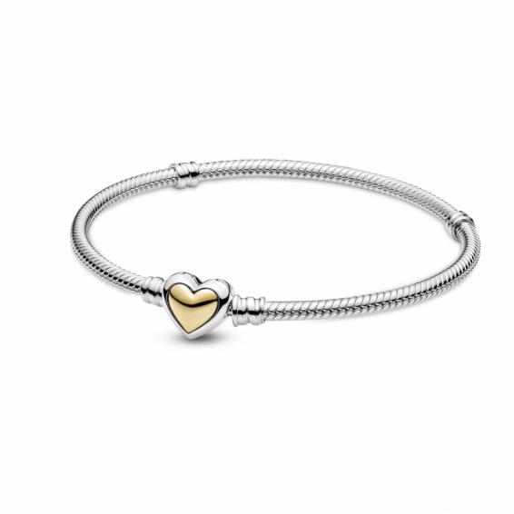 Bracelet Maille Serpent Fermoir Coeur Doré Bombé