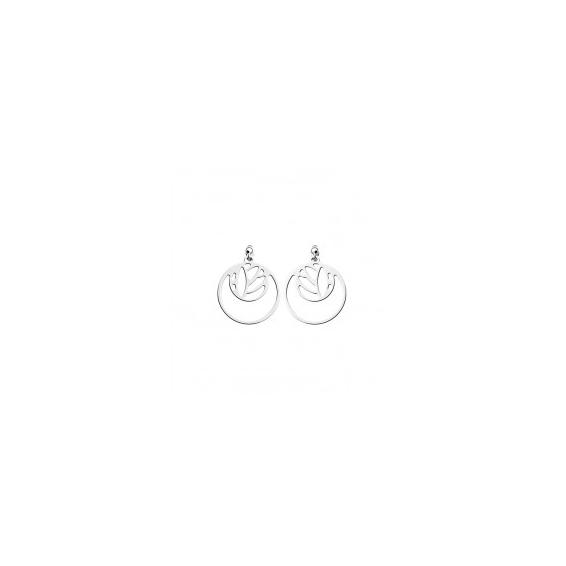"""Boucles d'Oreilles Dormeuses Double Rond """"Lotus"""" Finition Argentée 16 mm"""