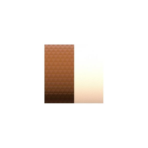 Cuir pour manchette Motif Bronze Cubique/Pêche Blanche 8 mm