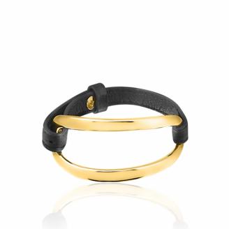 Bracelet Cuir Enlace Doré
