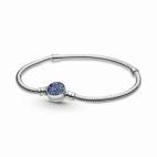 Bracelet Maille Serpent Fermoir Médaillon Bleu Scintillant