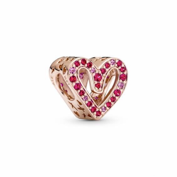 Charm Esquisse de Coeurs Rouge Rubis et Rose Scintillant