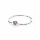 Bracelet Maille Serpent Fermoir Coeur Pavé Plaqué Or Rose