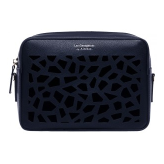 "Sac Dentelle Le Rectangle, Motif ""Girafe"" Bleu Marine"