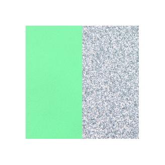 Cuir pour Manchette Vert d'Eau / Paillettes Argentées 40 mm