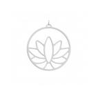 """Pendentif Les Essentielles """"Lotus"""" Finition Argentée 45 mm"""
