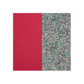 Cuir pour Manchette Framboise Soft / Paillettes Multicolores 40 mm