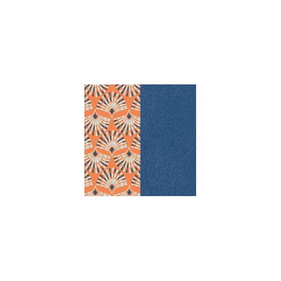 Cuir pour Manchette Paon / Bleu Denim 40 mm