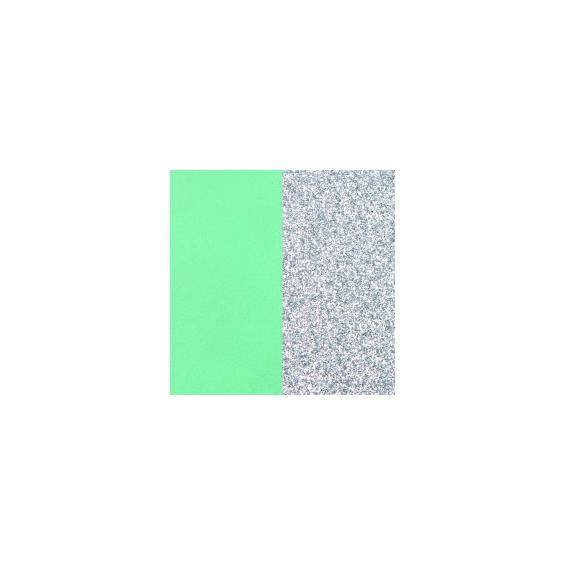 Cuir pour Petit Pendentif 16 mm Vert d'Eau / Paillettes Argentées