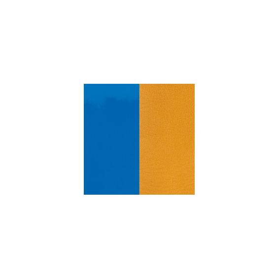 Cuir pour Pendentif Rond 16 mm Bleu Vif Vernis / Moutarde