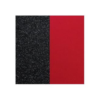 Cuir pour Pendentif Rond 25 mm Paillettes Noires / Rouge