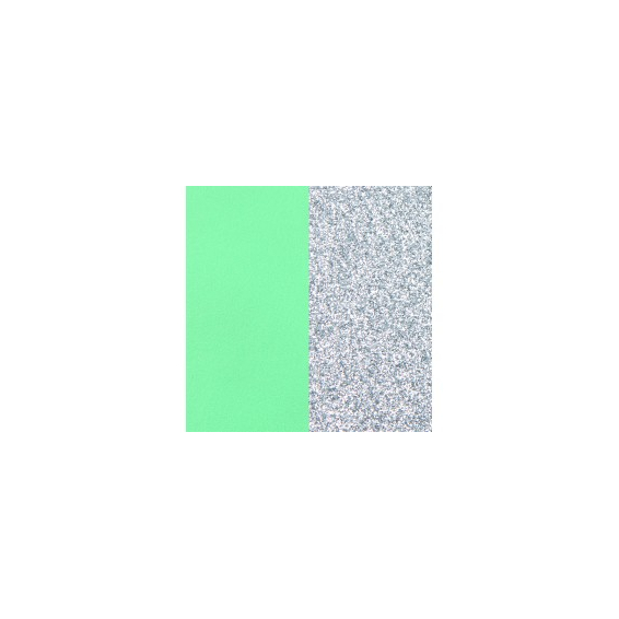 Cuir Manchette Vert d'Eau / Paillettes Argentées 14 mm