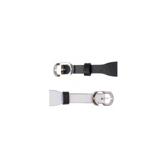 Bracelet de Montre Argenté 14mm Cuir Noir / Blanc