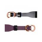 Bracelet de Montre Rosé 14 mm Cuir Noir Vernis / Violine