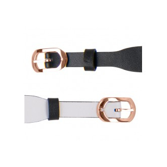 Bracelet de Montre Rosé 14mm Cuir Noir / Blanc