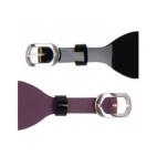 Bracelet de Montre Argenté 25mm Cuir Noir Vernis / Violine