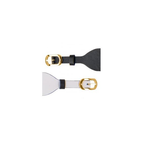Bracelet de Montre Doré 25mm Cuir Noir / Blanc