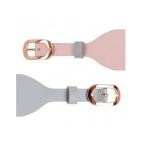 Bracelet de Montre Rosé 25mm Cuir Rose Clair / Gris Clair