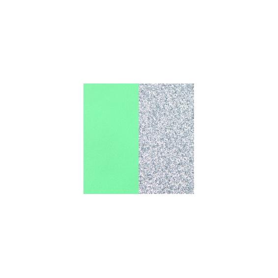 Cuir Manchette Vert d'Eau / Paillettes Argentées 25 mm