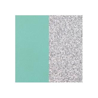 Vinyles pour Boucles d'Oreilles Dormeuses 16 mm Vert d'Eau / Paillettes Argentées