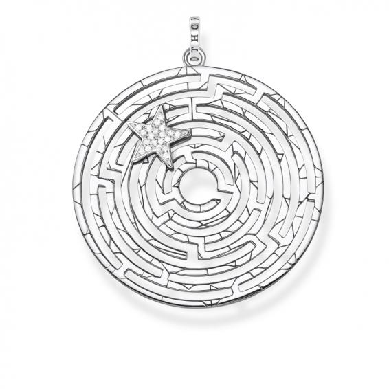 Pendentif Labyrinthe et Étoile Argentée