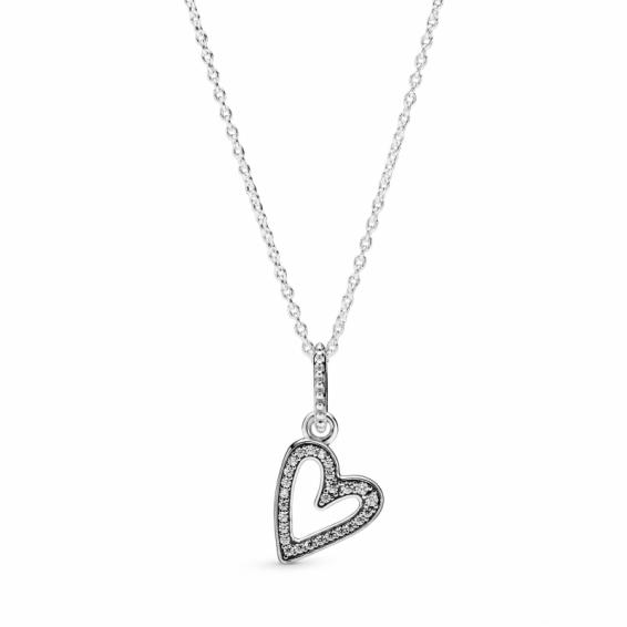 Collier Esquisse de Coeur Scintillant
