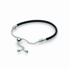 Bracelet Coulissant en Cuir Noir