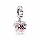Charm Pendentif Coeur Inscription Mom (Maman)