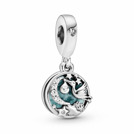 Charm pendentif Cigogne et Étoiles Étincelantes