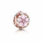 Charm Fleur de Magniolia Rose Ajouré