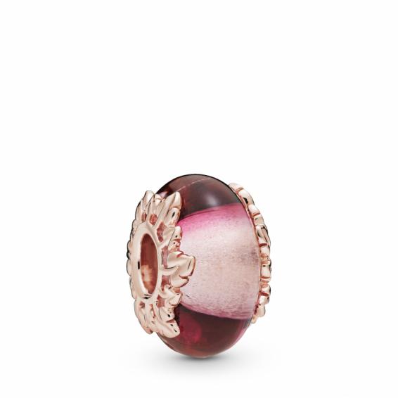 Charm Verre de Murano Rose et Feuilles