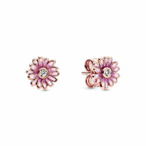 Clous d'Oreilles Marguerites Roses