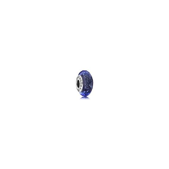 Charm Murano Facetté Bleu Iridescent