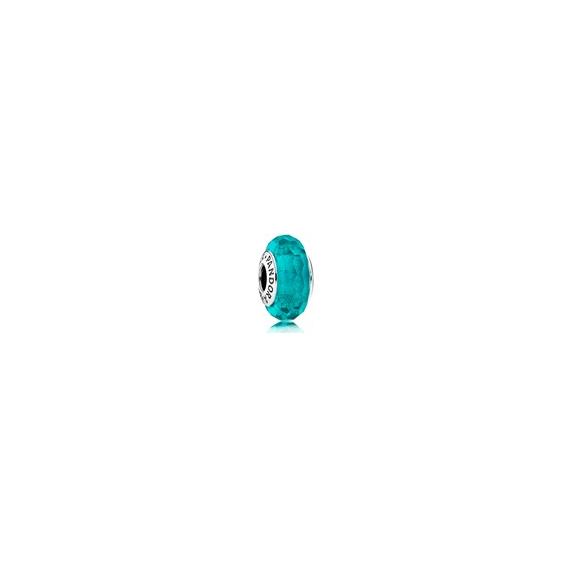 Charm Murano Facetté Bleu Turquoise