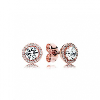 Clous d'Oreilles Halo Scintilliant Rose