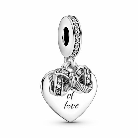 Charm Pendant Noeud et Coeur d'Amour
