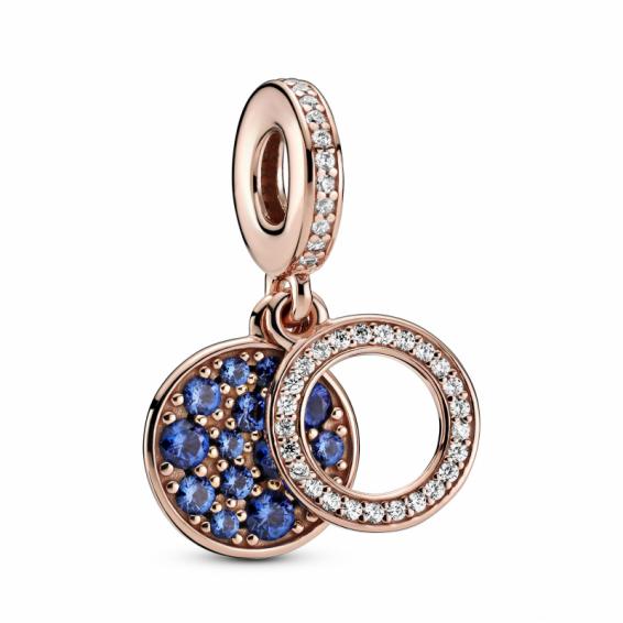 Charm Pendant Double Disque Bleu Scintillant Pandora Rose
