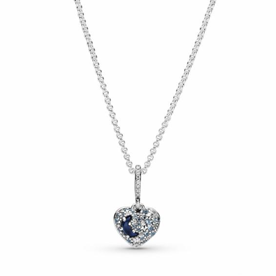 Collier Coeur Scintillant Lune Bleue et Etoiles