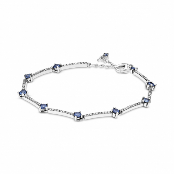 Bracelet Barres Pavé Scintillant Bleu